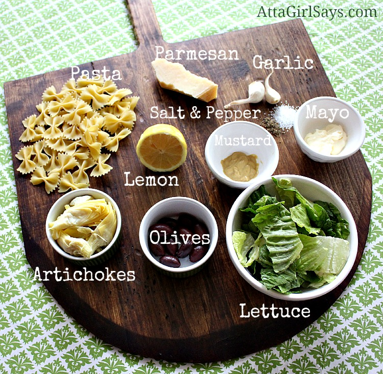 ingredients for artichoke and olive pasta salad