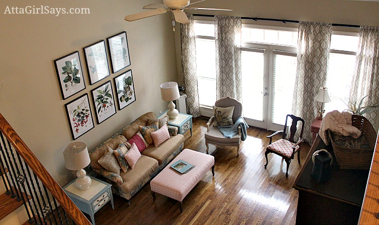 Atta Girl Says: living room with botanical prints and ballard designs susan kassler ikat curtains