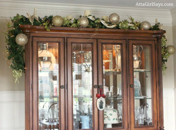 Christmas garland on dining room buffet