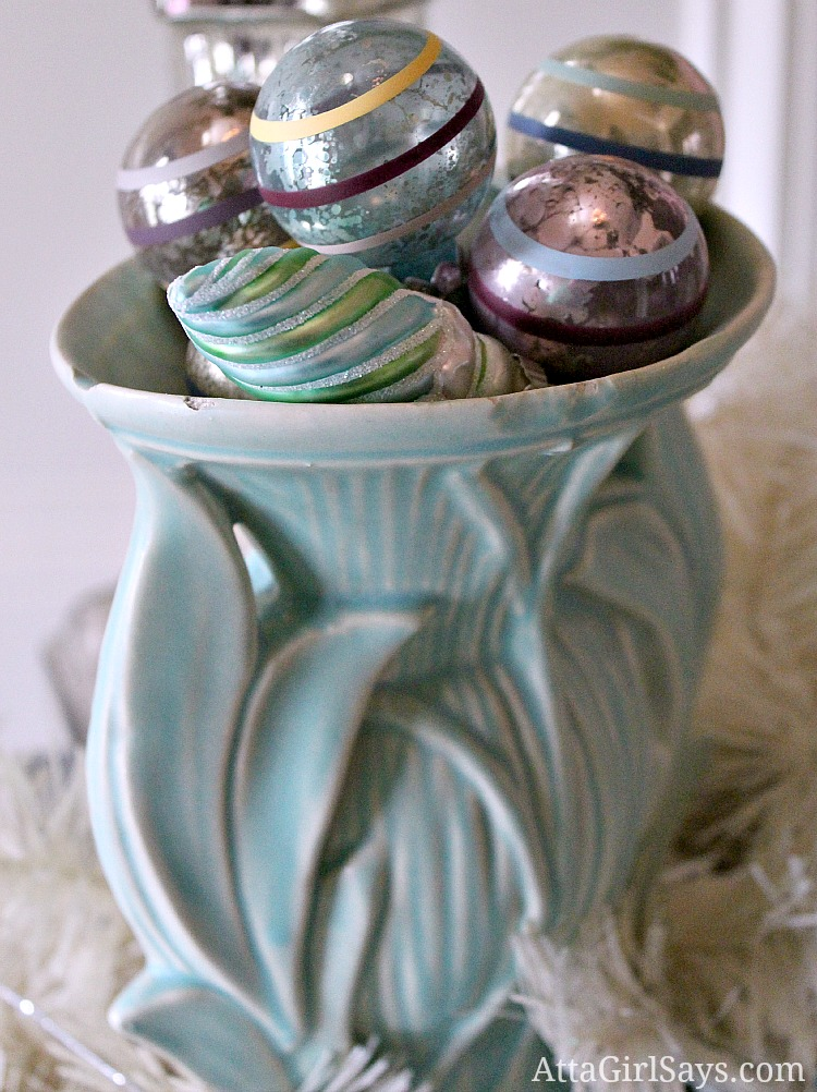 McCoy leaves of grass vase with vintage Christmas ornaments