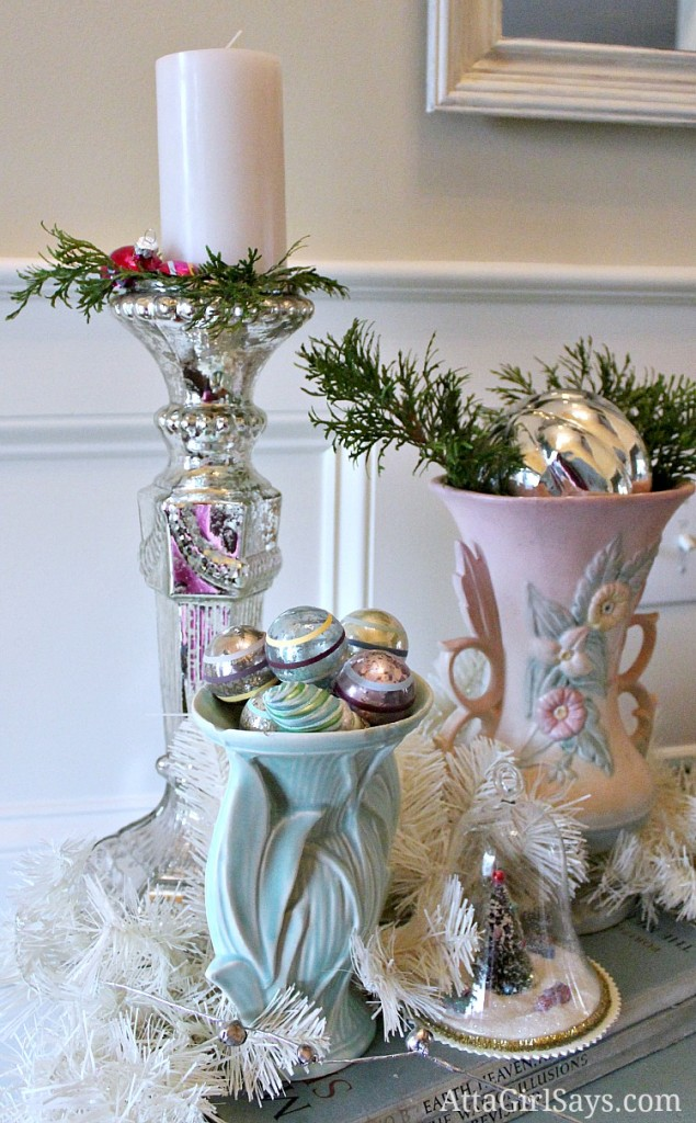 Vintage Pottery Christmas vignette by AttaGirlSays.com