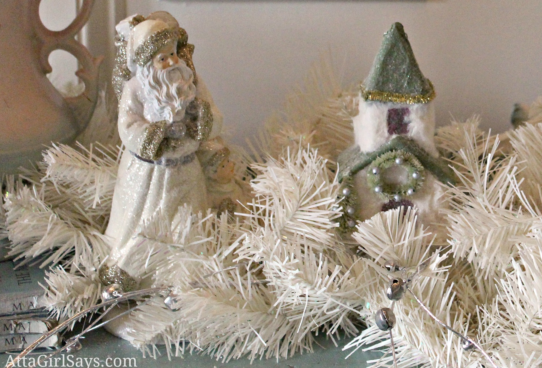 Christmas House Tour 2012: Vintage and Pastel Foyer and Little White Lies