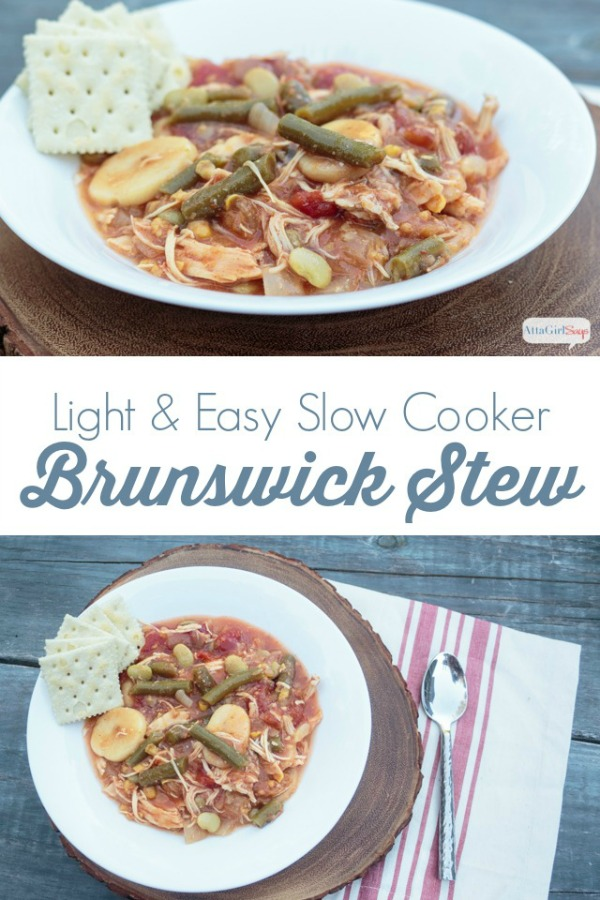 collage photo showing a bowl of slow cooker Brunswick stew