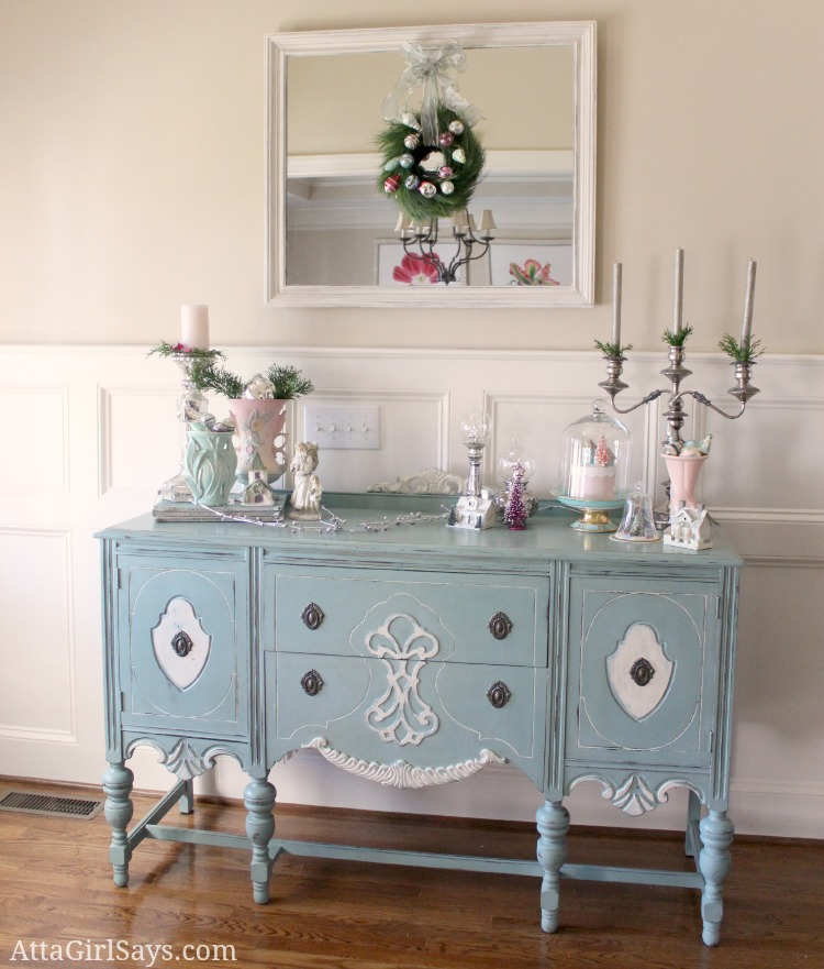 handpainted vintage buffet decoarted in pink and green for Christmas by AttaGirlSays.com