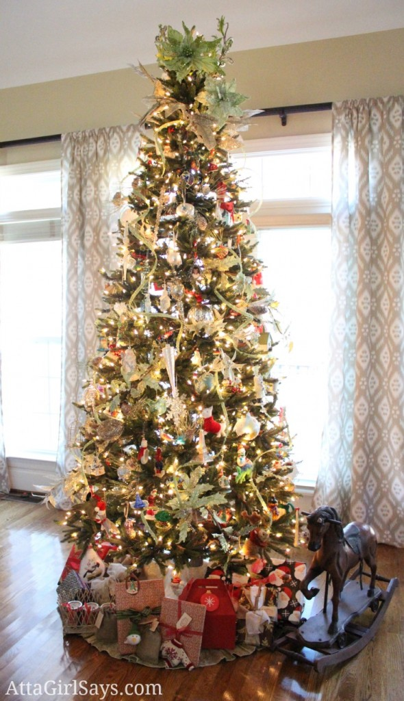 living room decorated Christmas tree with memory ornaments by AttaGirlSays.com