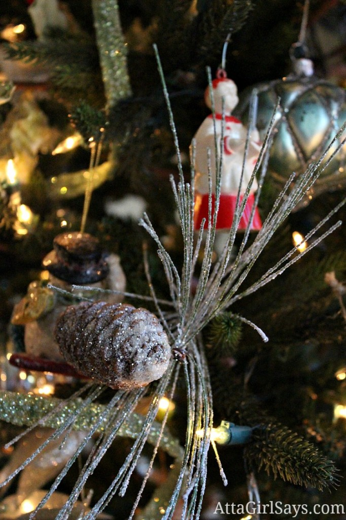 pinecones and antique christmas ornament from grandma