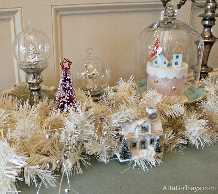 pink bottle brush tree and vintage christmas house vignette