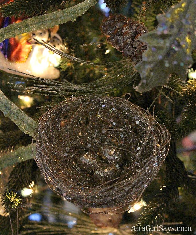 silver bird's nest in Christmas tree