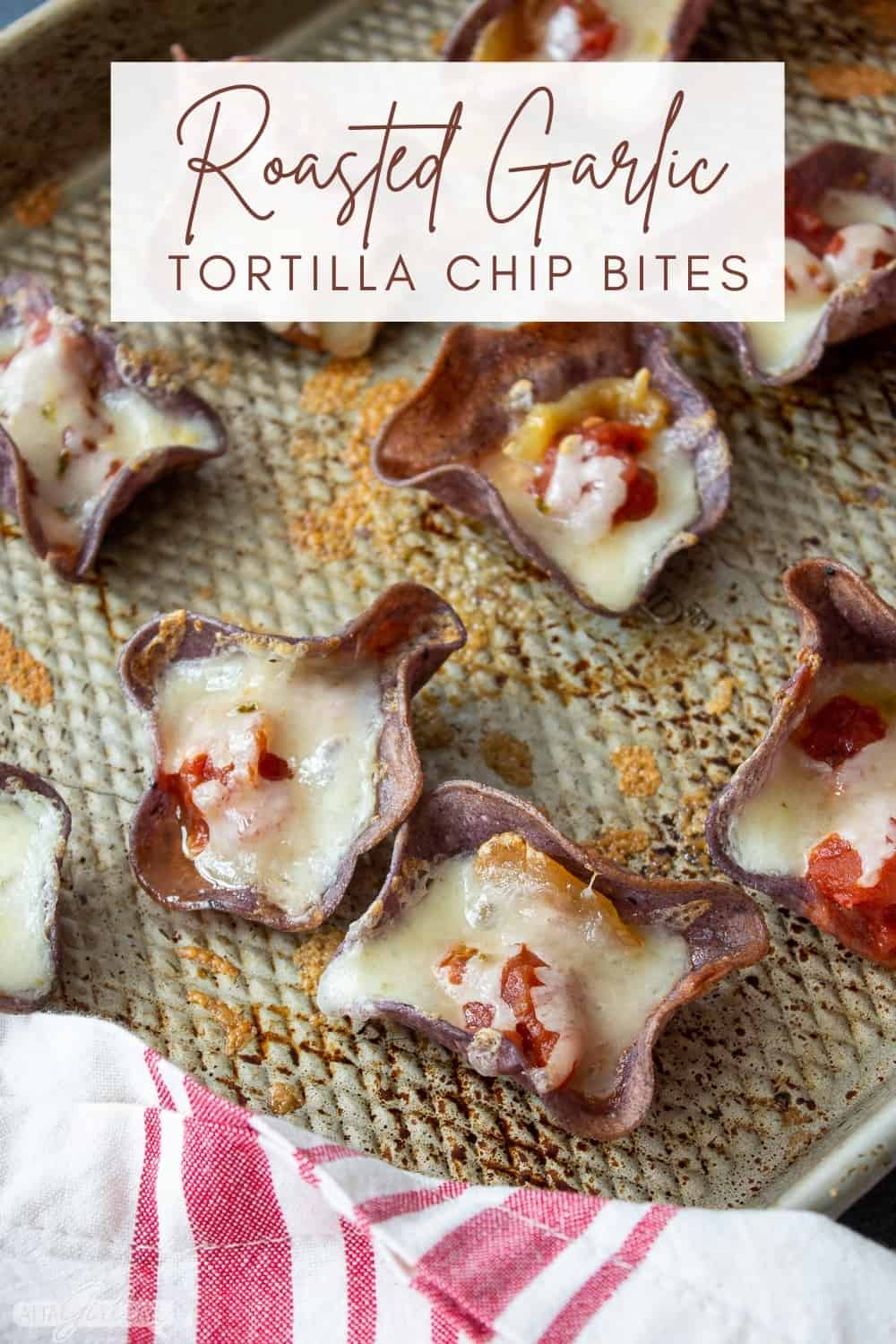 blue corn tortilla chips filled with cheese, roasted garlic and salsa on a sheet pan