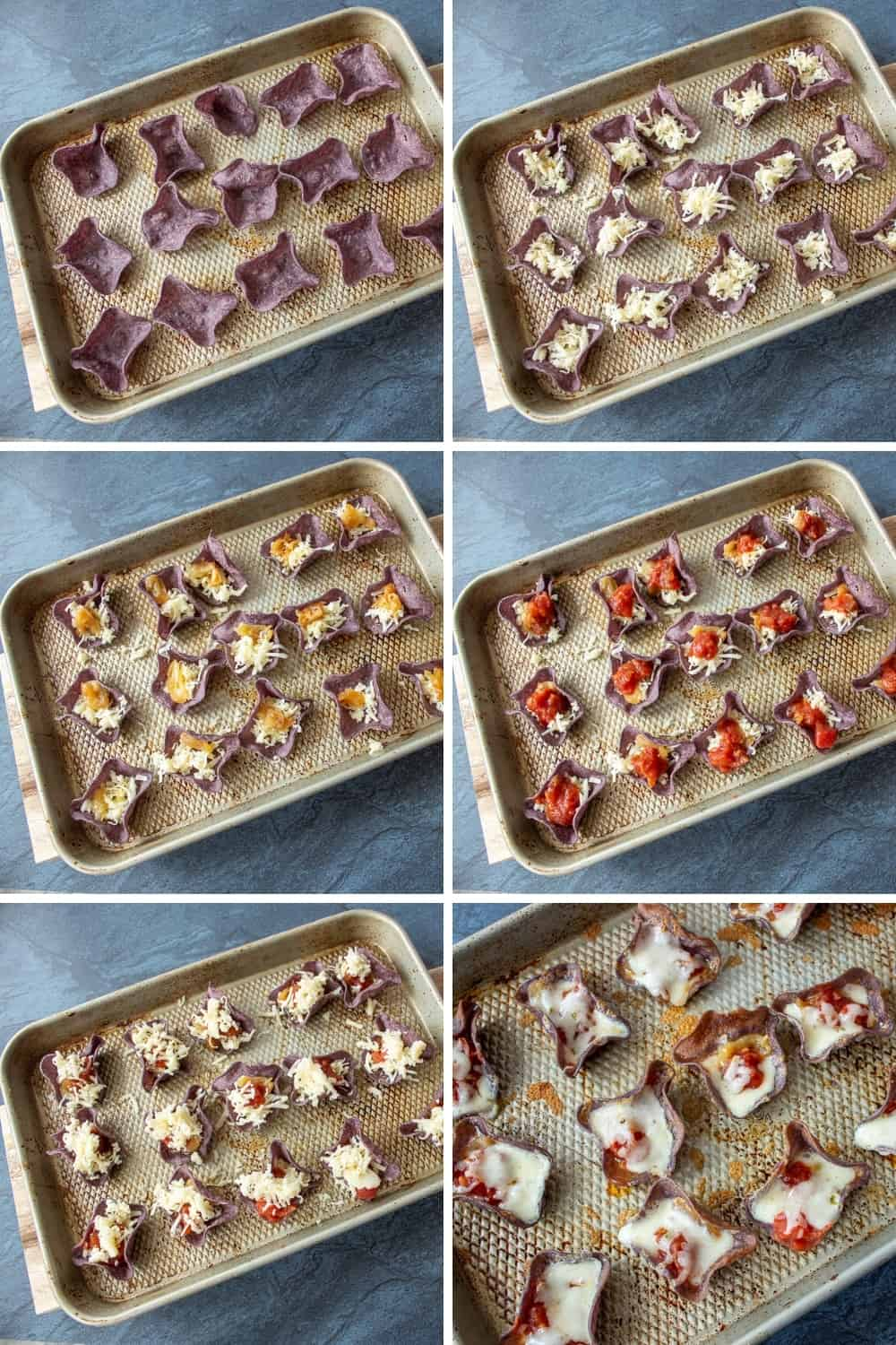 collage photo showing the steps to making roasted garlic nachos
