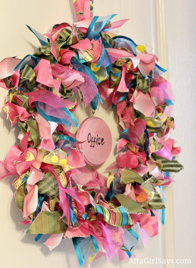 pink and blue ribbon wreath for office