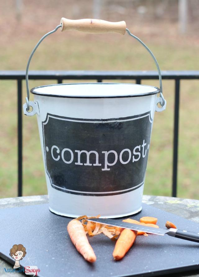 Mod Podge Photo Transfer Compost Bucket