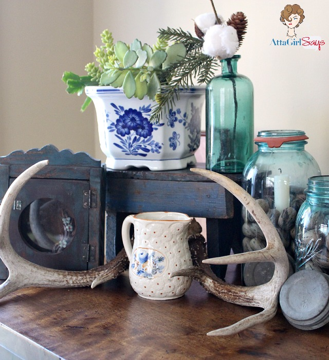 decorating with mason jars on empire sideboard