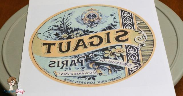 vintage soap lazy susan graphic transfer project