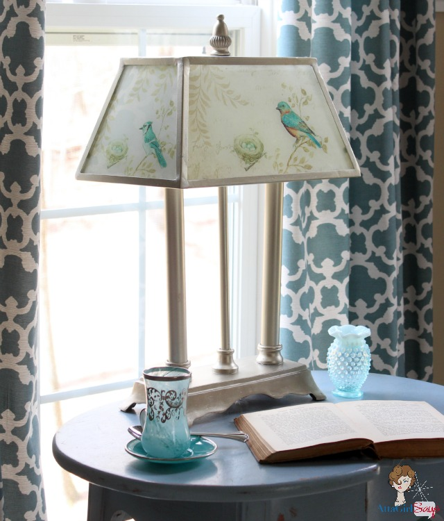 Atta Girl Says Glass and Brushed Nickel Bird Lamp with Glass Shade