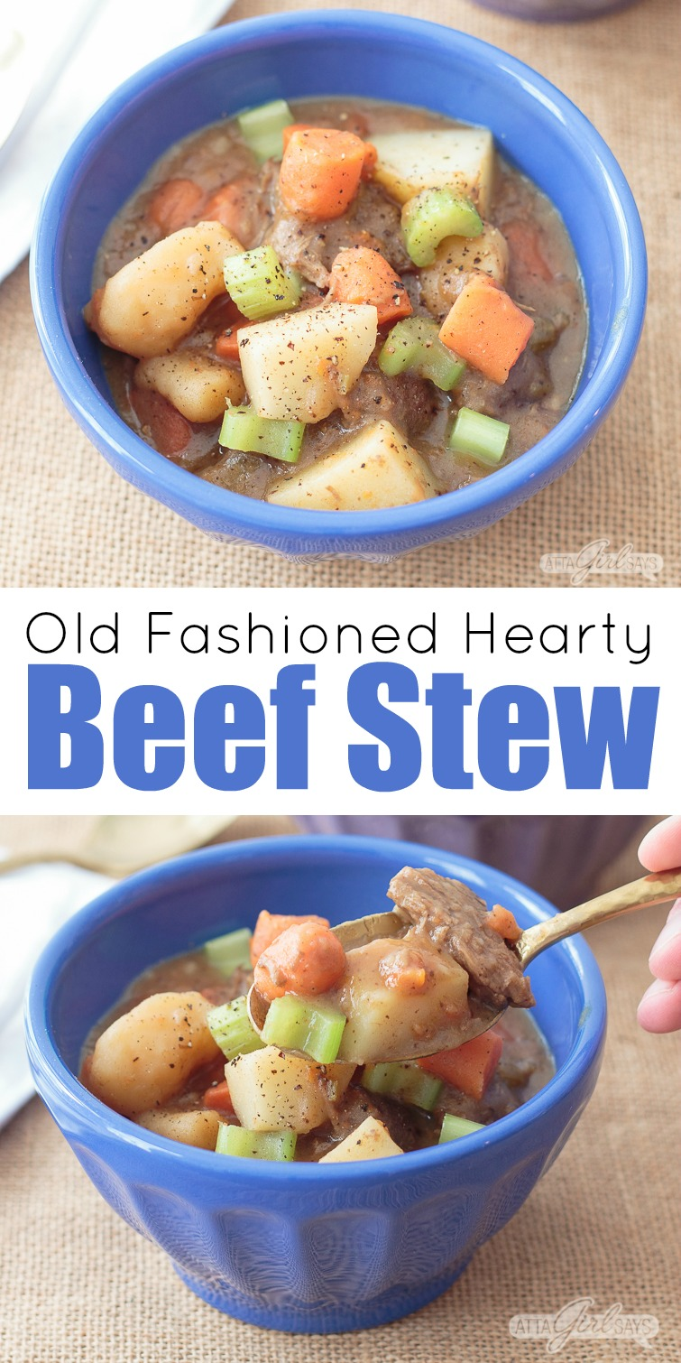 When you're craving stick-to-your-ribs comfort food, you can't go wrong with this recipe for hearty beef stew. This slow cooked meal in a bowl is packed with tender beef and vegetables in a thick, tasty broth. #beefstew #comfortfood #wintermeals #slowcooked