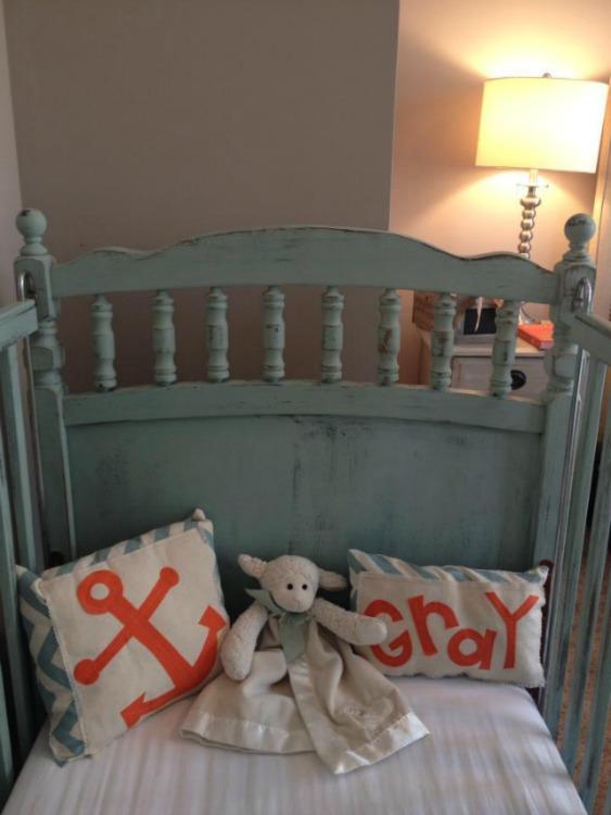 Creme de Menthe Maison Blanche crib with orange accents