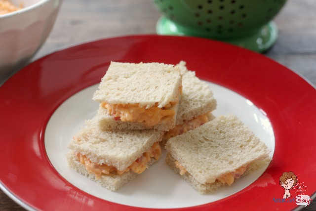crustless homemade pimento cheese sandwiches on a plate