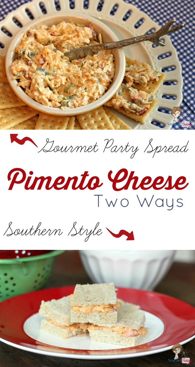 two different ways to make pimento cheese - simple southern pimento cheese and a fancy gourmet pimento cheese party spread