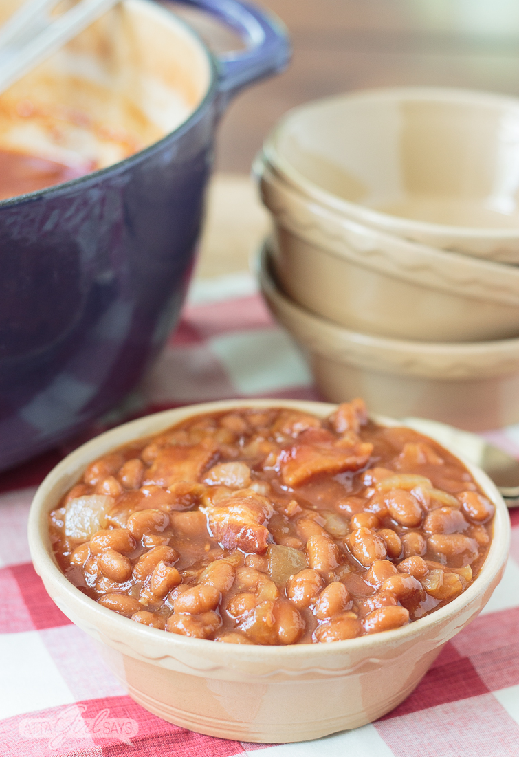 pot of southern baked beans with bacon