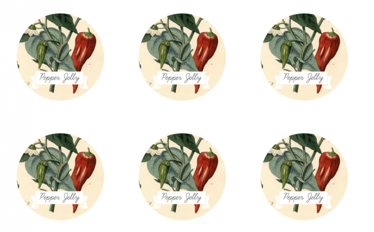 printable jar labels featuring vintage botanical artwork of peppers on the vine