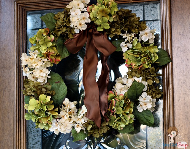 Fall Wreath: Hydrangeas and Brown Satin Ribbon