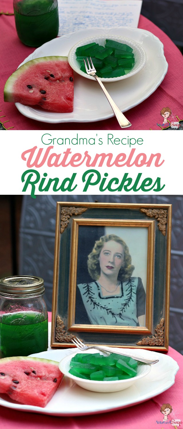 grandma's handwritten old fashioned watermelon rind pickle recipe with her photo