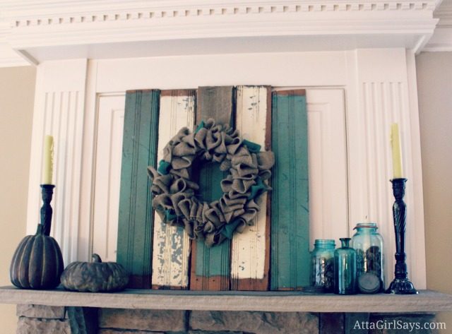 Rustic Fall Mantel with Mason Jars
