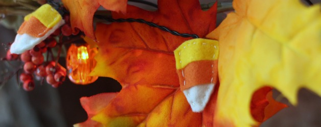 Make a Felt Candy Corn Light Garland for Halloween