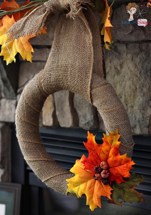 Easy Burlap Fall Leaf Wreath