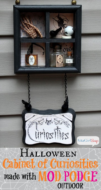 Halloween Cabinet of Curiosities Sign made with Outdoor Mod Podge