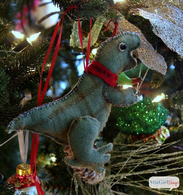 Handmade Felt Dinosaur Christmas Ornament