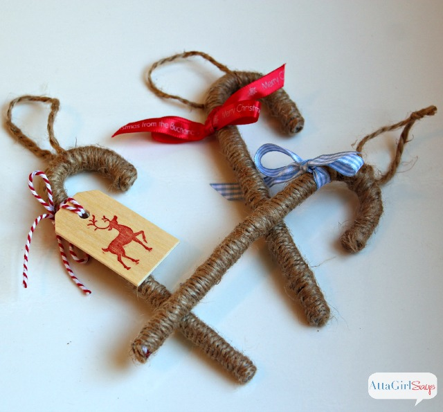 Twine Candy Cane Handmade Christmas Ornaments