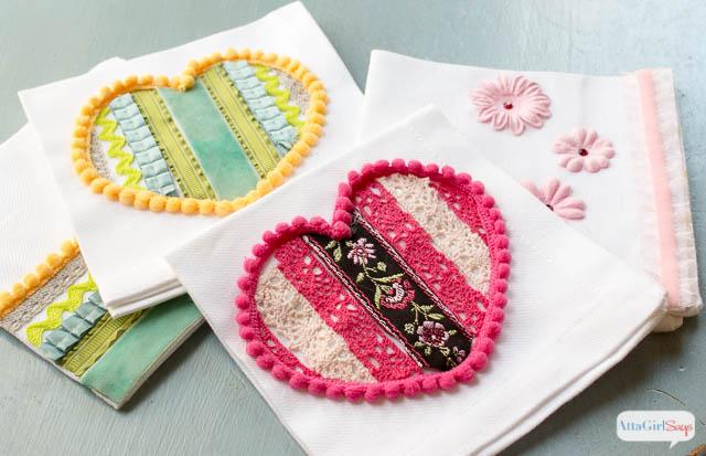 Anthropologie Ribbon Heart Dish Towel
