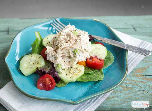 chicken salad scoop on a salad
