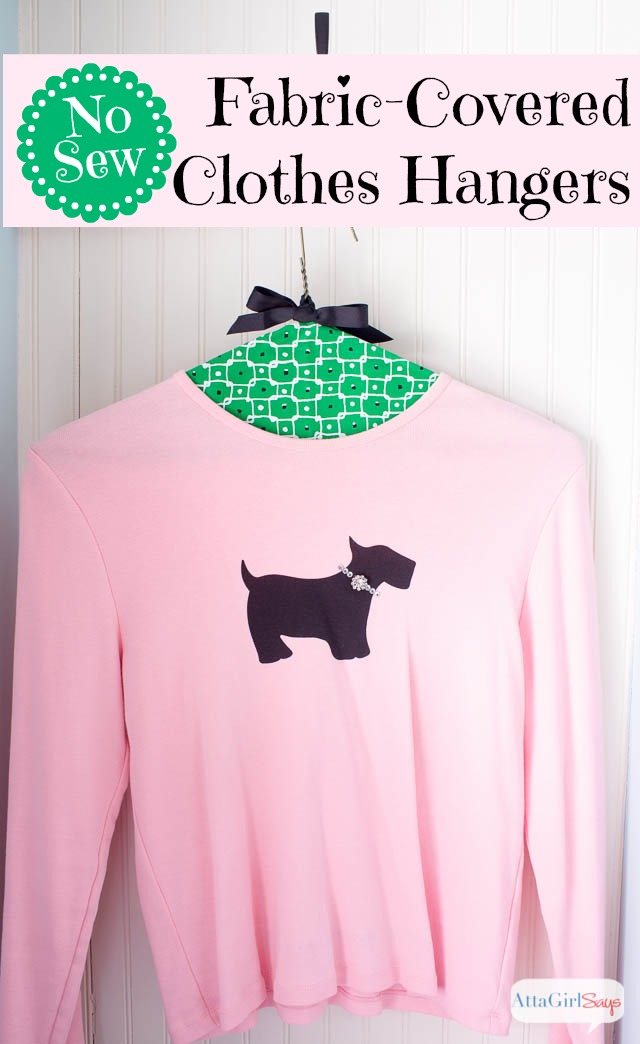 Pink shirt on a green fabric clothes hanger