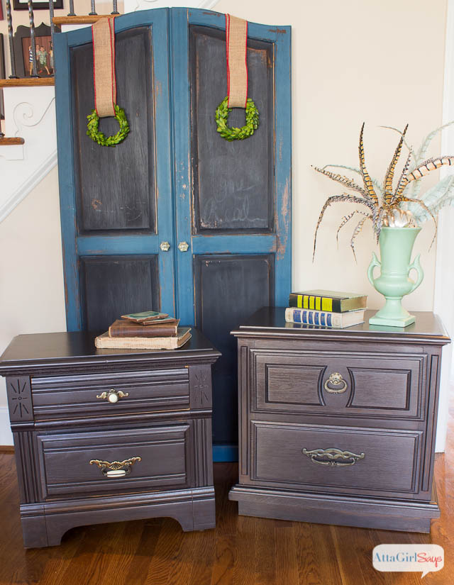 Nightstand Makeover With Martha Stewart Metallic Glaze Atta Girl Says