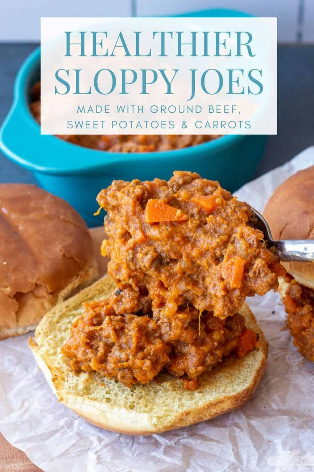 spooning healthy Sloppy Joes filling onto a toasted bun