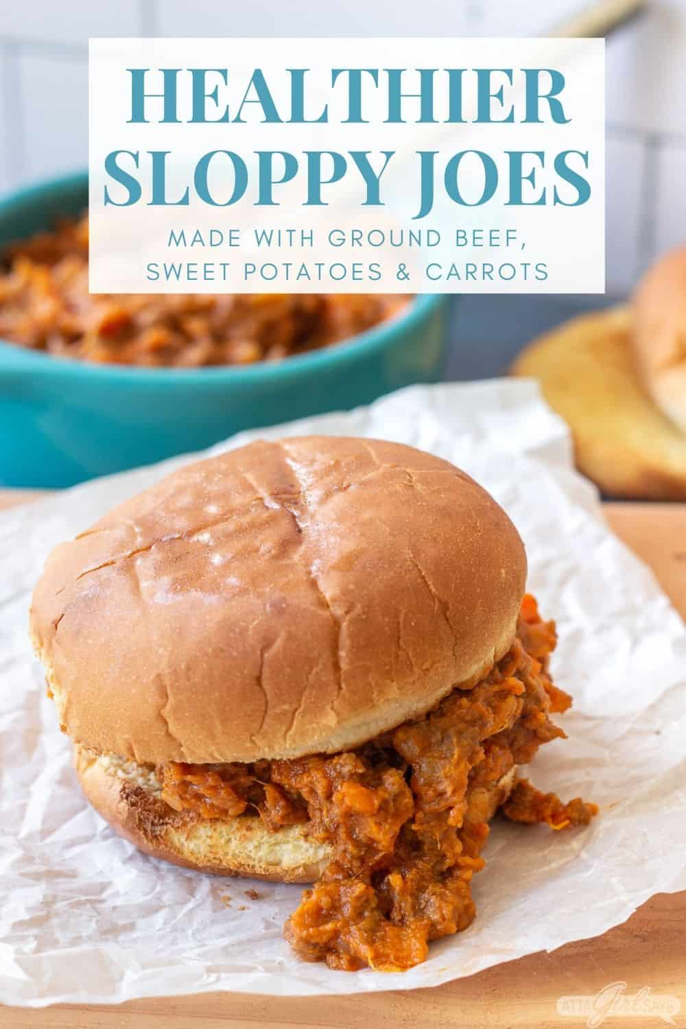 healthy sloppy Joes recipe falling out of a bun