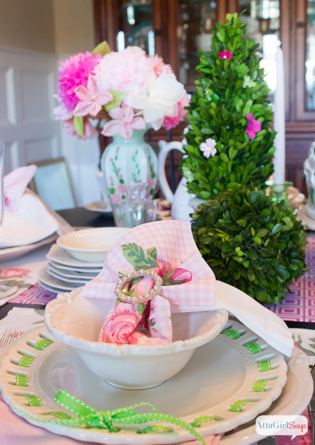 Spring Table Setting Ideas: Pink and Green Luncheon