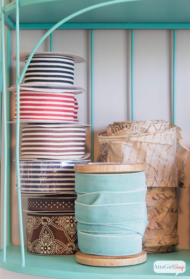 DIY Craft Room Ribbon Organizer and Wall Art