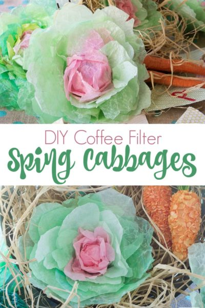 collage photo showing cabbages made from coffee filters
