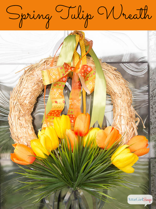 Easy Spring Wreath Idea: Tulips in Grass