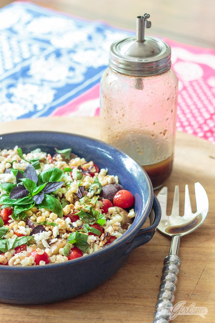 corn potato tomato and basil salad with homemade dressing
