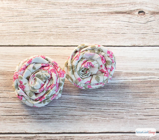 roses made from scrap fabric strips