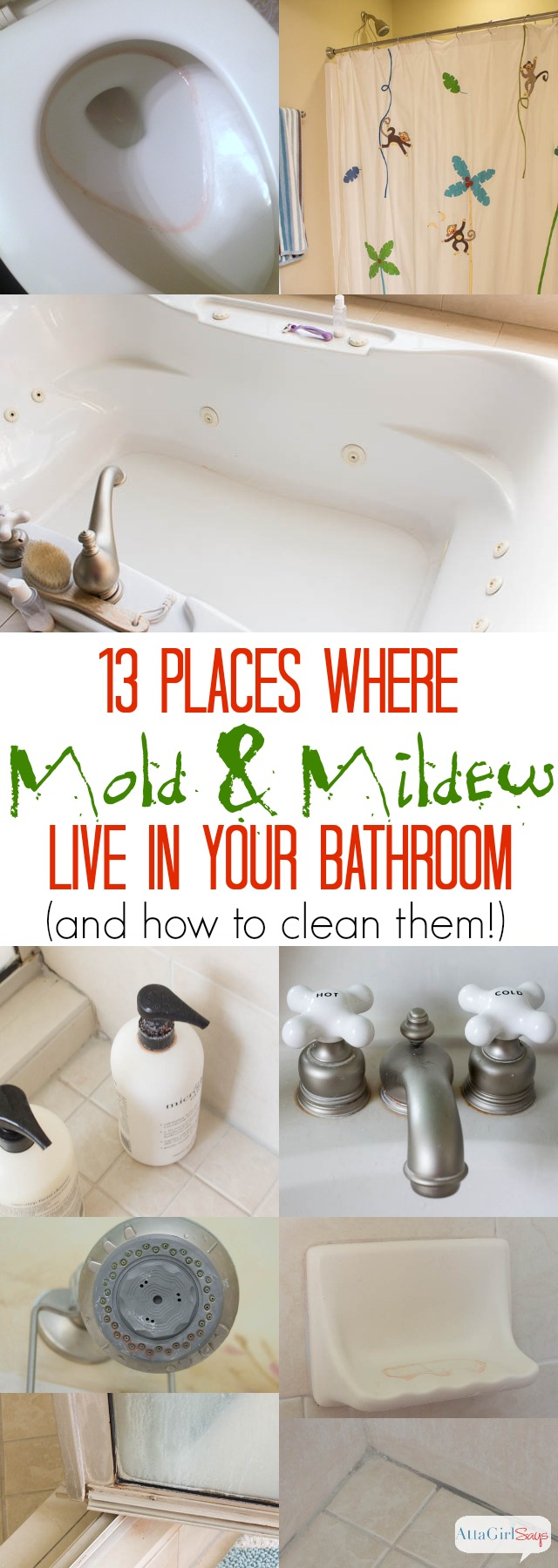 13 Places Where Mold & Mildew Live in Your Bathroom & How to Clean Them: All homes have mold and mildew. Under the right conditions, like a steamy bathroom,  mold and mildew can grow in as little as 48 hours. Learn how to clean mold without scrubbing. These are my favorite tools and tricks to get rid of mold and mildew in the bathroom, once and for all.