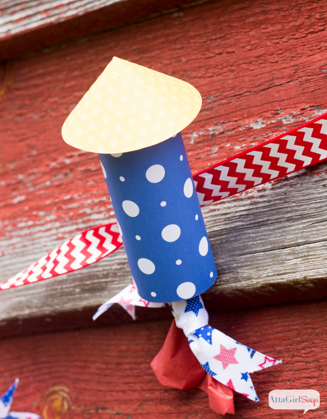 paper firecracker with ribbon