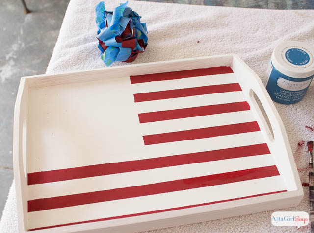 Chalky Finish Stars & Stripes Vintage American Flag Serving Tray