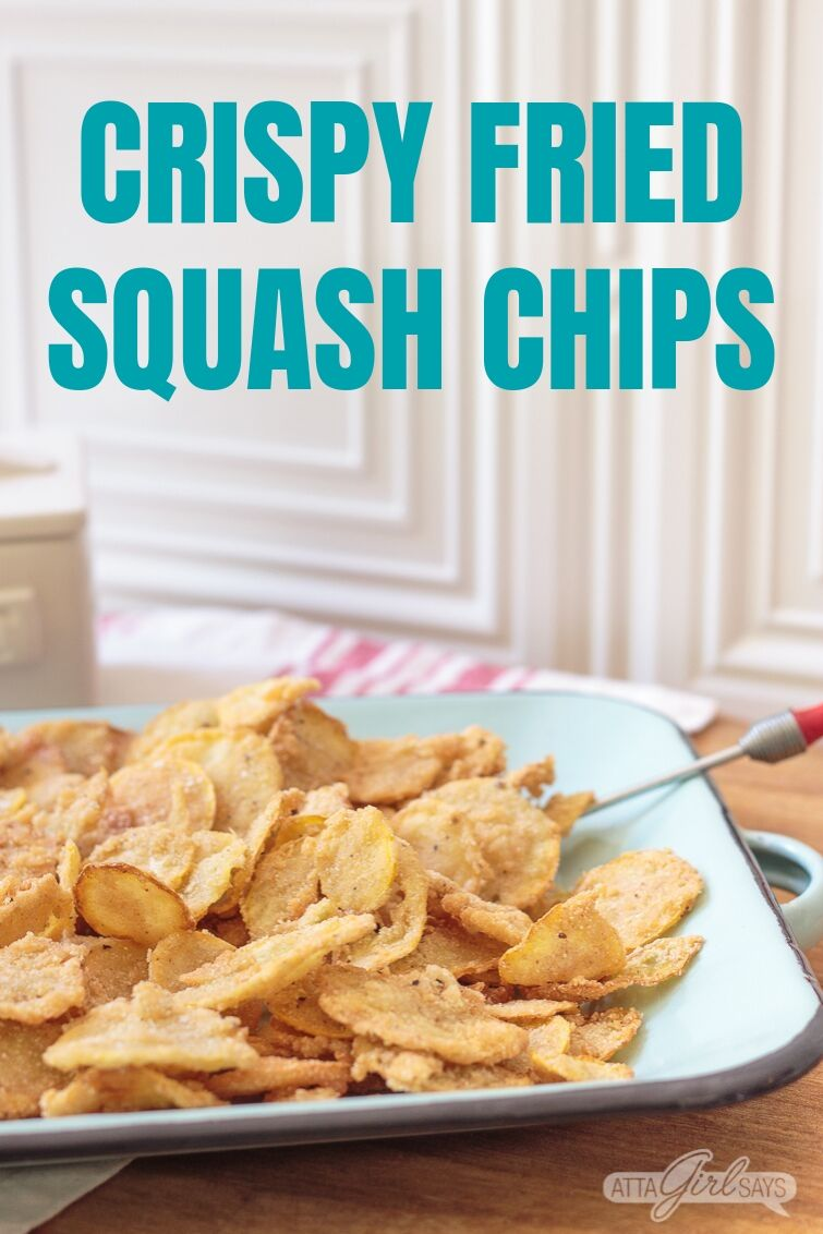 fried squash chips on a blue enamel platter