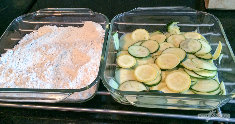 how to fry squash: thin slices of squash and zucchini soaking in milk and egg beside a flour batter